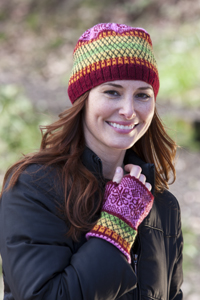 Cascade Yarns® Free Cascade 220® Fingering pattern FW169 Wheel of Hearts Beanie and Gauntlets